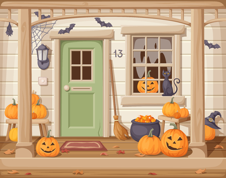 porch chair: Vector illustration of a front door and porch with pumpkins decorated for Halloween.