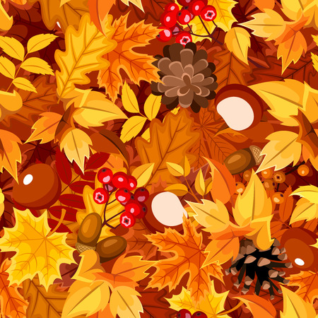 Vector seamless pattern with autumn colorful leaves, cones, chestnuts, rowanberries and acorns.