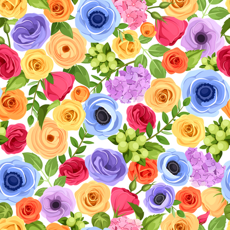 green and purple: Vector seamless background with red, orange, yellow, blue and purple flowers and green leaves.