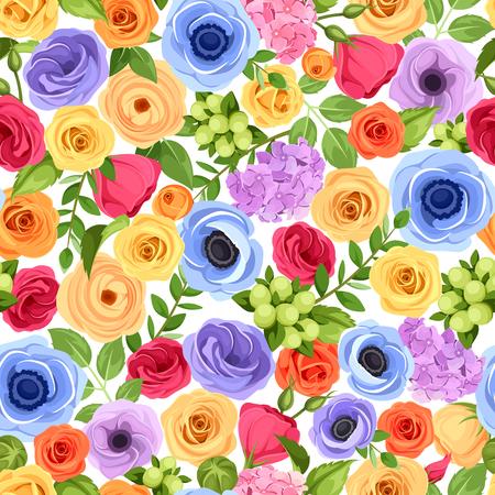 Wektor bezszwowe tło z czerwonym, pomarańczowym, żółtym, niebieskim i fioletowym kwiecie i zielonych liści.
