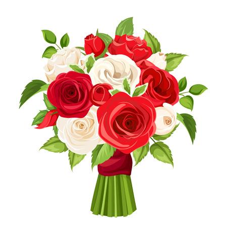 Vector bouquet de roses rouges et blanches isolés sur un fond blanc. Banque d'images - 64037778