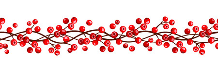 red berries: Vector autumn horizontal seamless garland with red rowan berries.