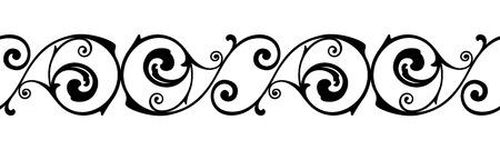 elegant white: Vector horizontal seamless vintage black and white vignette. Illustration