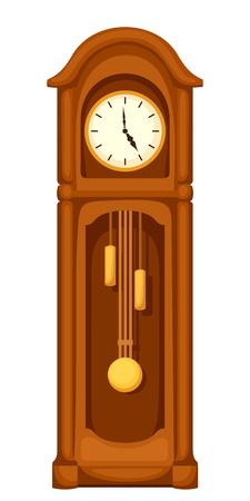 ベクトル ヴィンテージ longcase おじいさんの時計が白い背景に分離されました。