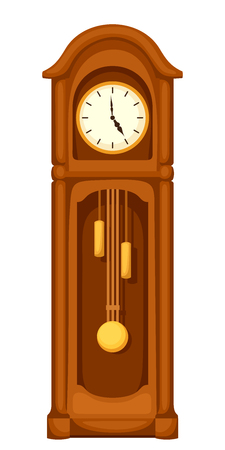 tock illustration: Vector vintage longcase grandfather clock isolated on a white background.