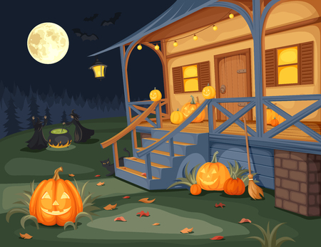 brujas caricatura: Ilustración vectorial de una noche de Halloween, casa con jack-o-linternas en una terraza y brujas elaboran cerveza una poción bajo la luna llena.