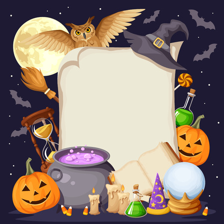 Vector Halloween background card with magic symbols: book, cauldron, hourglass, owl, jack-o-lanterns, bats, broom, flasks, crystal ball, wizards and witches hats and candles. Illustration