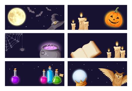 magic cauldron: Vector Halloween banners with magic symbols: book, cauldron, owl, spider web, jack-o-lantern, bats, broom, flasks, crystal ball, moon, stars, witches hat and candles.