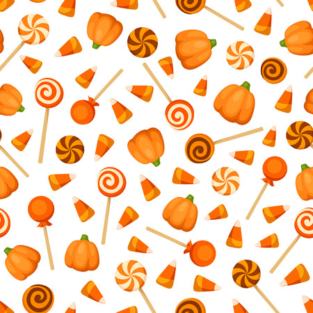 Vector seamless pattern with orange Halloween candies on a white background.