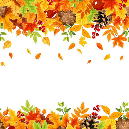 Vector horizontal seamless frame with colorful falling autumn leaves on a white background. Vectores