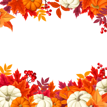 Vector background frame with orange and white pumpkins and colorful autumn leaves. Illustration