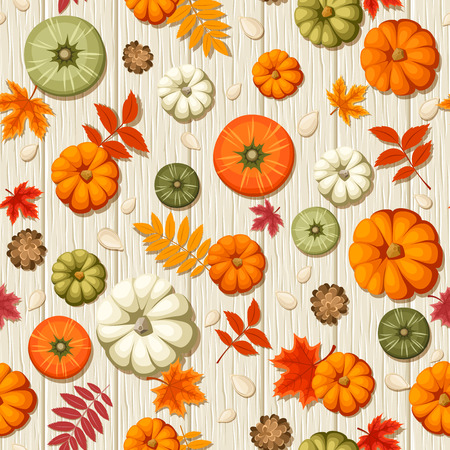 Vector seamless pattern with colorful pumpkins, pumpkin seeds, cones and autumn leaves on a wooden background. Иллюстрация