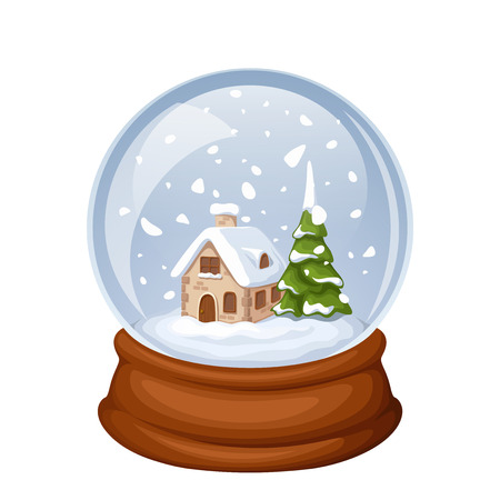 snowdome: Vector glass Christmas snow globe with house and fir-tree isolated on white.