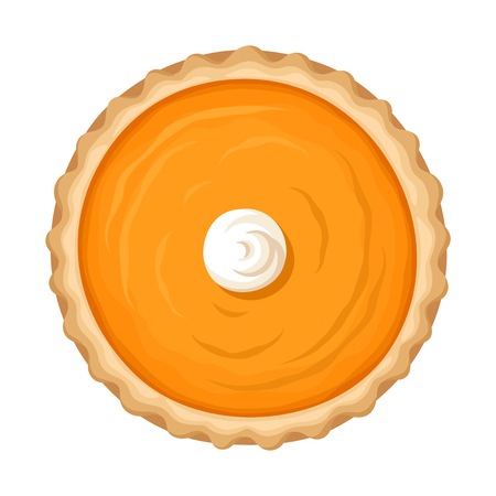 Vector illustration of a pumpkin pie with whipped cream isolated on a white background.
