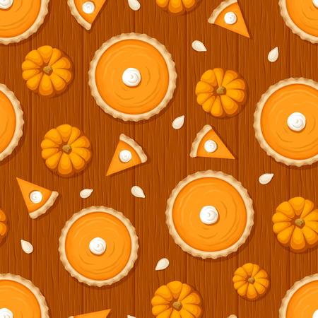 pumpkin seeds: Vector seamless pattern with pumpkin pies, pumpkins and seeds on a wooden background. Illustration