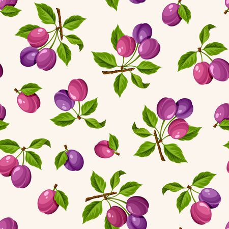 plums: Vector seamless pattern with ripe branches of plums. Illustration