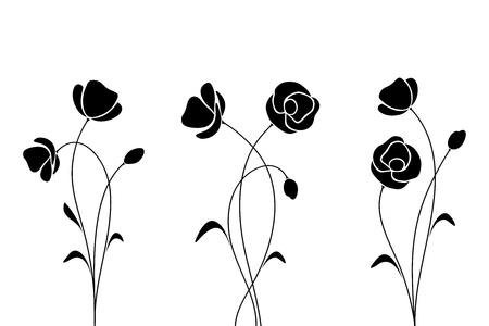 Vector siluetas negras de flores aisladas sobre un fondo blanco. Ilustración de vector