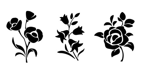 Three vector black silhouettes of flowers isolated on a white background.