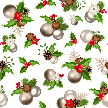 firtree: Vector Christmas seamless background with red and silver balls, fir-tree branches, cones, holly and mistletoe. Illustration