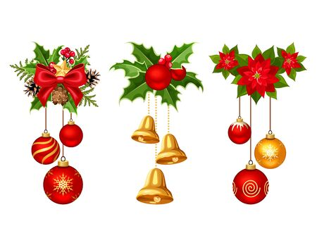 gold christmas decorations: Set of three vector Christmas decorations with red and gold balls, bells, fir branches, holly and poinsettia isolated on a white background.