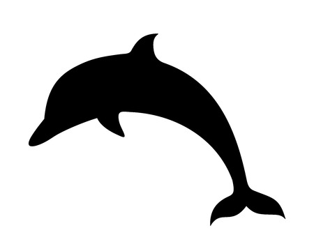 Vector black silhouette of a dolphin isolated on a white background. Çizim