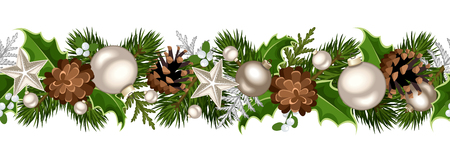 firtree: Vector Christmas horizontal seamless garland with fir-tree branches, silver balls, holly leaves, cones and mistletoe.