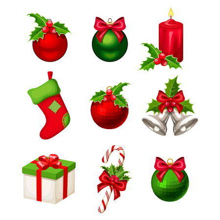 Set of red and green Christmas decorations (balls, bells, candy cane, stocking, gift box and candle) isolated on a white background. Vector illustration.