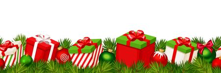 Vector Christmas horizontal seamless background with red and green gift boxes, balls and fir-tree branches.