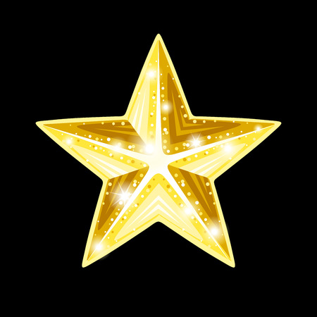 Shining gold star on a black background. Vector illustration.