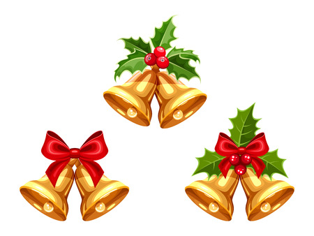 moños de navidad: Set of vector gold Christmas bells with bows and holly isolated on a white background. Vectores