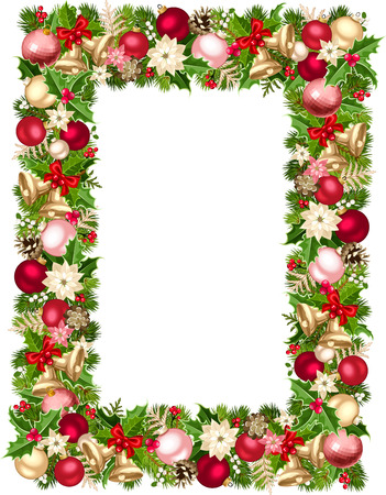 Vector Christmas frame with green, red, pink and silver fir-tree branches, balls, bells, holly, poinsettia flowers and pinecones.