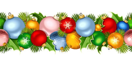 firtree: Vector Christmas horizontal seamless garland with colorful balls and fir-tree branches. Illustration