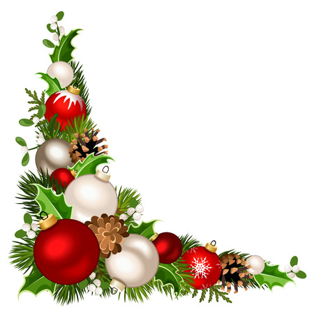 Vector Christmas decorative corner background with red and white balls, fir-tree branches, holly, mistletoe and pinecones. Illustration