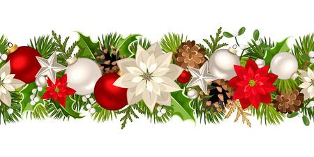 Vector la ghirlanda senza cuciture orizzontale di Natale con i rami dell'abete, le palle rosse ed argento, i fiori della stella di Natale, l'agrifoglio, i coni e il vischio.