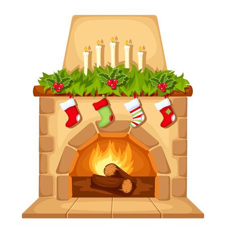 Vector illustration de cheminée de Noël isolé sur un fond blanc.