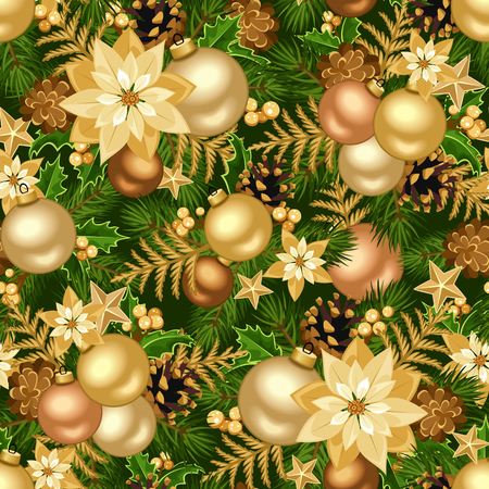 firtree: Vector Christmas seamless background with gold balls, fir-tree branches, cones, poinsettia flowers and stars. Illustration