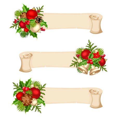 firtree: Three vector Christmas parchment banners with red, silver and green balls, fir-tree branches, holly and cones.