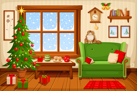 Vector illustration of Christmas living room with fir-tree, sofa and snowfall behind the window.
