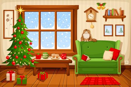 Vector illustratie van de woonkamer van Kerstmis met sparren, bank en sneeuwval achter het raam. Stock Illustratie
