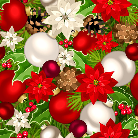 firtree: Vector Christmas seamless background with red, white and green fir-tree branches, balls, poinsettia flowers, pinecones and holly. Illustration