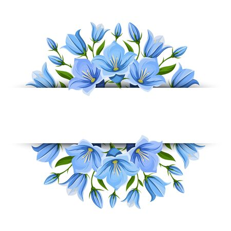 Vector background banner with blue bluebell flowers. Illustration