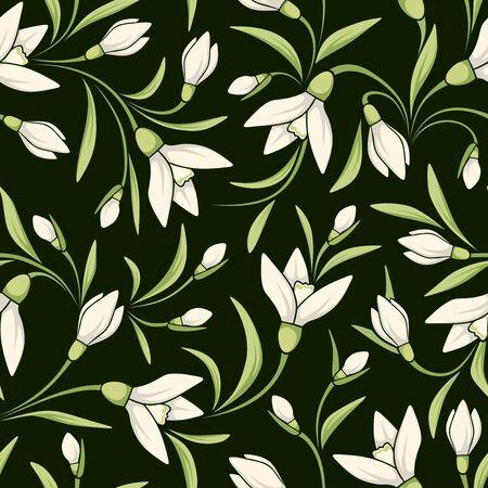 Vector naadloos patroon met witte sneeuwklokjes bloemen op een donkere groene achtergrond.