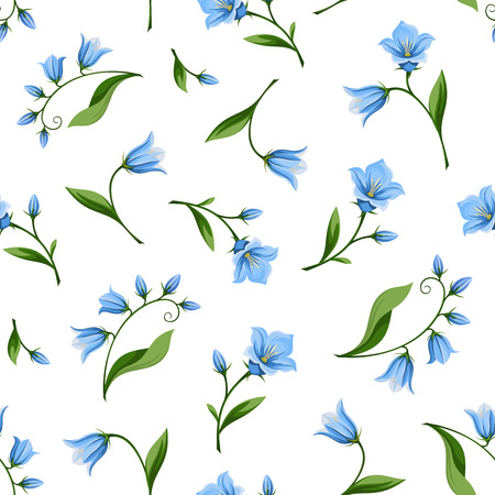 bluebell: Vector seamless pattern with blue bluebell flowers isolated on a white background.