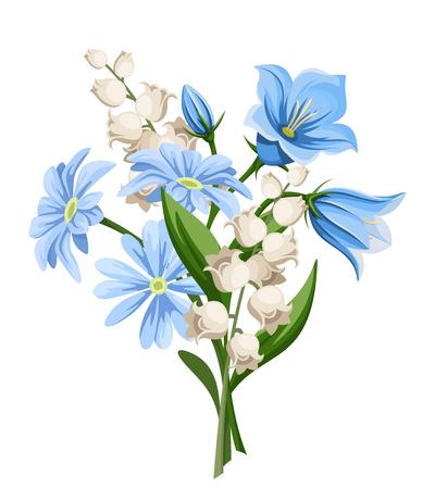Vector blauw en wit lentebloemen boeket geïsoleerd op een witte achtergrond.