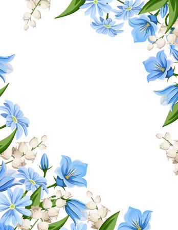 Fond flyer vecteur de fleurs printanières bleu et blanc. Banque d'images - 69584696