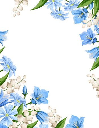 Vector flyer background with blue and white spring flowers.