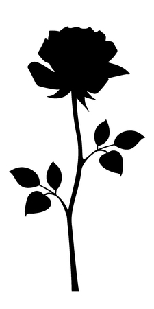 rose silhouette: Vector black silhouette of rose with stem isolated on a white background. Illustration