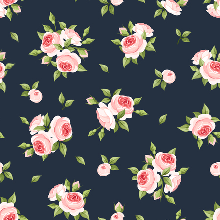 floral print: Vector seamless pattern with pink roses on a dark blue background. Illustration