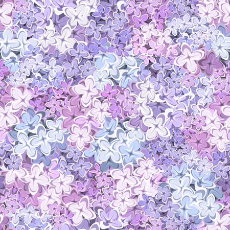 Vector seamless background with purple, pink and blue lilac flowers.