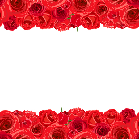 claret red: Vector horizontal seamless background with red roses.